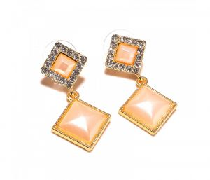 Sanaa Creations Cz Studded Tops Square Shape Gold Plated Designer Earring-(product Code-1ern38)
