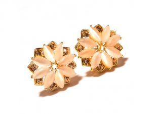 Sanaa Creations 2 Layer Flower White Gemstone With Cz Studded Gold Plated Earring-(product Code-1ern54)