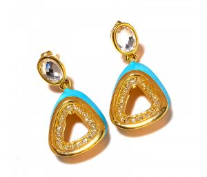 Sanaa Creations Turquise Gemstone With Cz Studded Designer Gold Plated Earring-(product Code-1ern59)