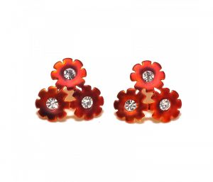 Sanaa Creations 3 Layer Flower Cz Studded Maroon Color Enameling Earring-(product Code-1ern65)