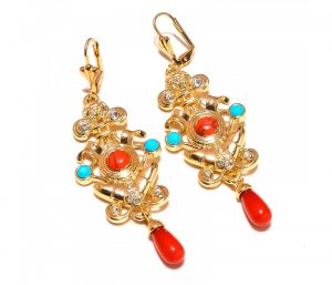 Sanaa Creations Traditional Multicolor Gemstone Cz Studded Gold Plated Earring-(product Code-1ern68)