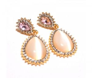 Sanaa Creations Pear Shape Cz Studded Multi Gemstone Gold Plated Earring-(product Code-1ern70)