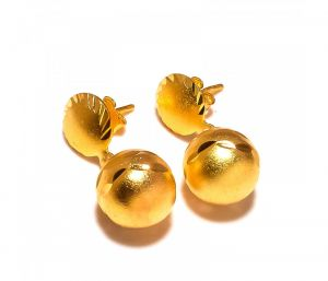 Sanaa Creations Gold Balls Round Shape Gold Plated Designer Earring-(product Code-1ern71)