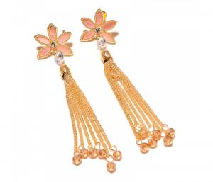 Sanaa Creations 6 Liner Dangler Cz Studded Gold Plated Earring-(product Code-1ern73)