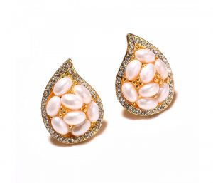 Sanaa Creations Pearl & Cz Studded Gold Plated Pearl Shape Designer Earring-(product Code-1ern74)