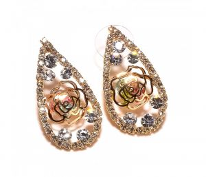 Sanaa Creations Pears Shape Cz Studded Gold Plated Earring-(product Code-1ern80)