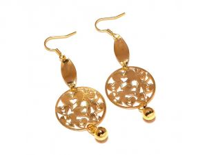 Sanaa Creations Nested Hand Crafted Dangler Circle Gold Plated Earring-(product Code-1ern86)