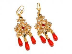 Sanaa Creations Traditional Multicolor Gemstone Cz Studded Gold Plated Earring-(product Code-1ern91)