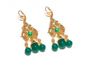 Sanaa Creations Traditional Green Green Color Gemstone Cz Studded Gold Plated Earring-(product Code-1ern92)