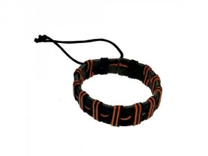 Sanaa Creations Add Great Style To Your Individual Personality With This Exclusive Dual Tone Orange-black Band Bracelet -(product Code-1mb147)