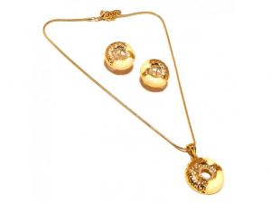 Sanaa Creations White Ennamelling With Nested Cz Gold Plated Earring Pendant Set-(product Code-1nk10)