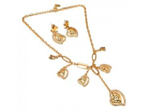 Sanaa Creations Fancy Designer Gold Plated Heardshape Necklace Pendant Set-(product Code-1nk16)