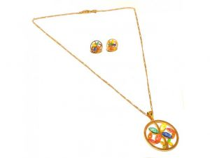 Sanaa Creations Multicolor Gemstone Gold Plated Cz Pendant,earring Necklace Set-(product Code-1nk19)