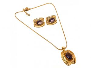 Sanaa Creations Antique Look Earring & Pendant Link Chain Gold Plated Set-(product Code-1nk36)
