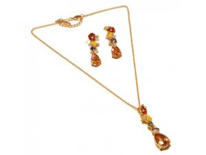 Sanaa Creations Multicolor Traditional Earring & Pendant Link Chain Gold  Plated Set-(Product Code-1NK43)