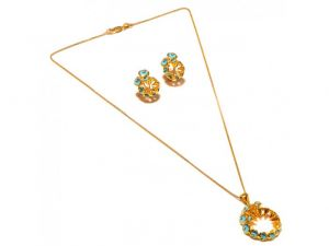 Sanaa Creations Abstract Blue Turquise Flower Pendant & Earring Design Gold Plated Set-(product Code-1nk47)