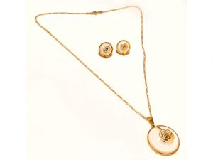 Sanaa Creations Big White Pearl Pendant With Flower In Center & Earrings Gold Plated Chain S-(product Code-1nk52)