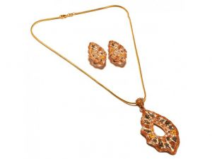Sanaa Creations Traditional Fancy Multicolor Abstract Pendant & Earring Design Gold Plat-(product Code-1nk53)