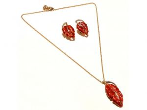 Sanaa Creations Red Color Leaf Shape Pendant & Earring Gold Plated Chain Set-(product Code-1nk55)