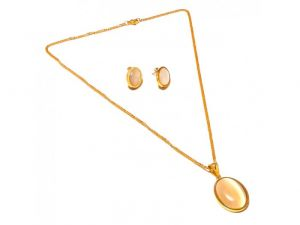 Sanaa Creations Simpel Gold Plated Pearl Pendant & Earring With Chain Set-(product Code-1nk60)