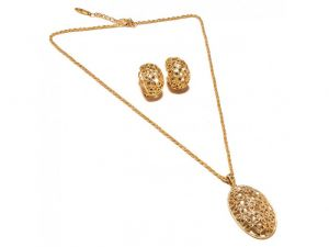 Sanaa Creations Abstract Designs Fancy Shape With Cz Pendant & Earring Design Gold Plated-(product Code-1nk61)
