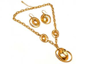 Sanaa Creations Fancy Design Big Size Locket Pendant ,earring & Link Gold Plated Chain Set --(product Code-1nk64)