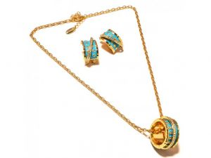 Sanaa Creations Turquoise Color Enamel Earring With Chain Set Gold Plated Fancy Abstract -(product Code-1nk65)