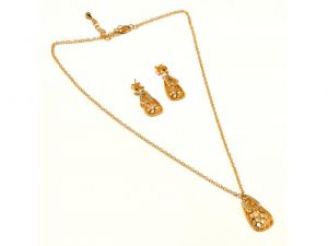 Sanaa Creations Traditional Fancy Multicolor Abstract Pendant & Earring  Design Gold Plate-(Product Code-1NK67)