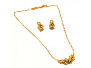 Sanaa Creations 4 Layerd Pendant Fancy Shape With Earring And Link Gold Plated Chain Set-(product Code-1nk69)