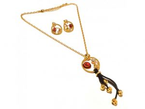 Sanaa Creations Beautiful Pendant Circe With Cz & Red Enamel & Gold Plated Earring Link Chain Set-(product Code-1nk70)