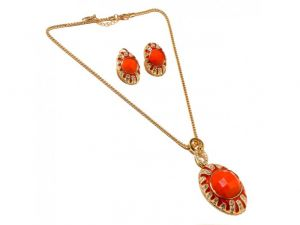Sanaa Creations Traditional Fancy Multicolor Gemstone & Cz Big Red Pendant & Earring Design -(product Code-1nk73)