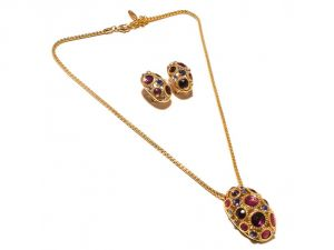Sanaa Creations Multicolor Gemstone & Cz Big Red Pendant & Earring Design Gold Plated Set -(product Code-1nk81)