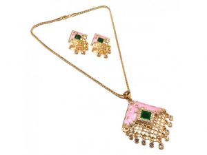 Sanaa Creations Pink Enamel Cz Decorative Pendant,earring Gold Plated Chain Set-(product Code-1nk87)