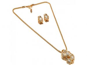 Sanaa Creations Heavy Chain Gold Plated With Cz And Gemstone Earring,pendant Design-(product Code-1nk88)