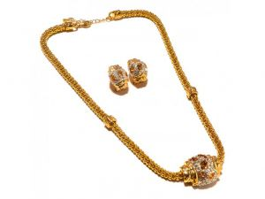 Sanaa Creations Double Heavy Chain Gold Plated With Cz And Gemstone Earring,pendant Desi-(product Code-1nk89)