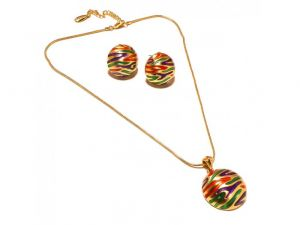 Sanaa Creations Gift Today Multi Color Enamel Gold Plated Earring Pendant Set For Girls-(product Code-1nk91)