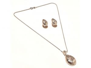 Sanaa Creations Gift Drop Shape Pendant,earring With Cz Silver Plated Set-(product Code-1nk92)