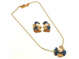 Sanaa Creations Blue Enamel With Pearl Flower Shape Earring,pendant Gold Plated Set-(product Code-1nk94)