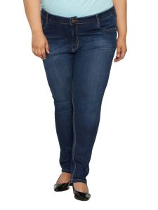 Zush Mid Rise Regular Fit Dark Blue Color Denim Fabric Plus Sized Jeans For Womens-zu1025