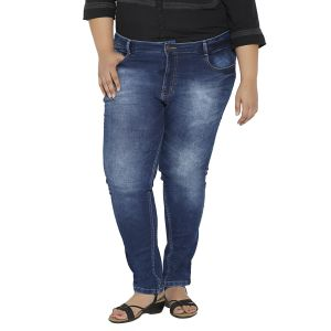 Zush Dark Blue Color Mid Rise Plus Sized Women