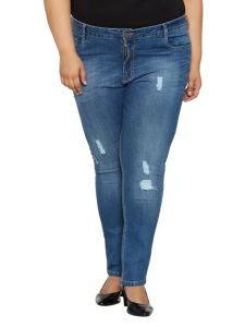 Zush Mid Rise Regular Fit Light Blue Color Denim Fabric Plus Sized Jeans For Womens-zu1033