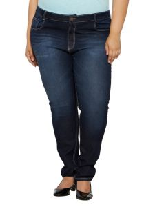 Zush Mid Rise Regular Fit Dark Blue Color Denim Fabric Plus Sized Jeans For Womens-zu1035