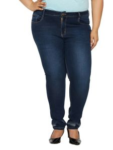 Zush Mid Rise Regular Fit Dark Blue Color Denim Fabric Plus Sized Jeans For Womens-zu1037