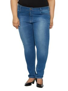 ZUSH Mid Rise Regular Fit Light Blue Color Denim Fabric Plus Sized Jeans For Womens-ZU1038