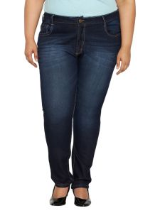 Zush Mid Rise Regular Fit Dark Blue Color Denim Fabric Plus Sized Jeans For Womens-zu1039