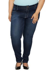 Zush Mid Rise Regular Fit Dark Blue Color Denim Fabric Plus Sized Jeans For Womens-zu1040