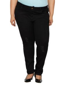 Zush Mid Rise Regular Fit Black Color Denim Fabric Plus Sized Jeans For Womens-zu1041