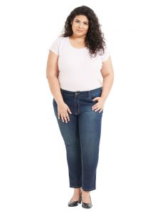 Zush Mid Rise Regular Fit Medium Blue Color Cotton Blend Fabric Plus Sized Jeans For Womens(code-zu1043)