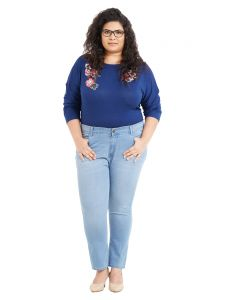 Zush Mid Rise Regular Fit Light Blue Color Cotton Blend Fabric Plus Sized Jeans For Womens(code-zu1044)