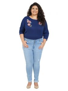 Zush Mid Rise Slim Fit Light Blue Color Cotton Blend Fabric Plus Sized Jeans For Womens(code-zu1049)